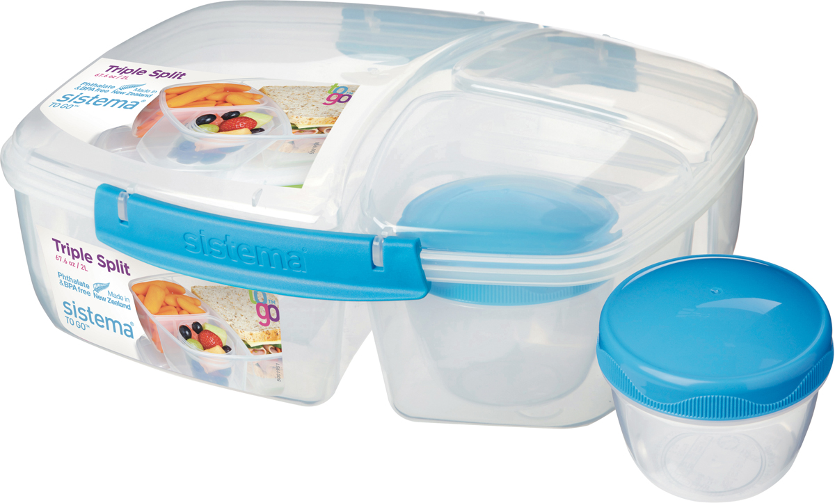 Контейнер пищевой Sistema Lunch, 3-х секционный,  баночкой, цвет: синий, 2 л. 20920