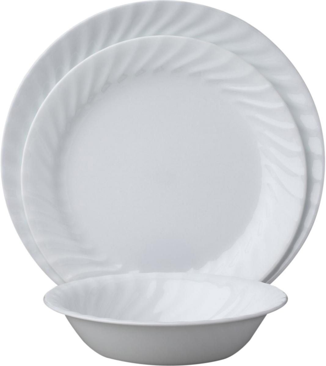 Набор посуды Corelle Enhancements, цвет: белый, 18 предметов. 10886311088631Новая коллекция Vive воплощает утонченную изысканность тонкого фарфора, но остается верной знаменитому наследию Corelle. Наслаждайтесь моментом, ведь теперь Вы можете использовать лучшую посуду каждый день. Классический стиль, идеальная белизна посуды и универсальность - основные достоинства посуды Enhancements. И будьте уверены - эта посуда украсит любой стол. Набор посуды Vive Enhancements состоит из: -обеденная тарелка, 26 см - 6 шт;-закусочная тарелка, 23 см - 6 шт;-суповая тарелка, 530 мл - 6 шт.