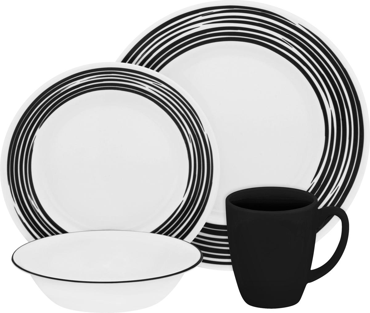 Набор посуды Corelle Brushed Black, цвет: белый, 16 предметов. 11170221117022Набор посуды Corelle Brushed Black воплощает изысканность тонкого фарфора, но остается верна знаменитой долговечности Corelle. Серия Corelle Brushed с необычным рисунком, словно художник прикоснулся кистью к тарелкам. Посуду можно мыть в посудомоечной машине и использовать в духовке и микроволновой печи. Набор посуды Brushed Black состоит из:-обеденная тарелка, 27 см - 4 шт;-десертная тарелка, 22 см - 4 шт;-суповая тарелка, 530 мл - 4 шт;-фарфоровая кружка, 330 мл - 4 шт.
