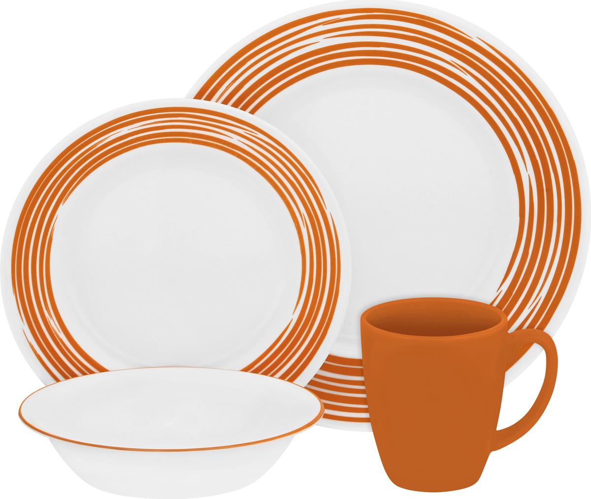 Набор посуды Corelle Brushed Orange, цвет: белый, 16 предметов. 11170241117024Набор посуды Corelle Brushed Orange воплощает изысканность тонкого фарфора, но остается верна знаменитой долговечности Corelle. Серия Corelle Brushed с необычным рисунком, словно художник прикоснулся кистью к тарелкам. Посуду можно мыть в посудомоечной машине и использовать в духовке и микроволновой печи. Набор посуды Brushed Orange состоит из:-обеденная тарелка, 27 см - 4 шт;-десертная тарелка, 22 см - 4 шт;-суповая тарелка, 530 мл - 4 шт;-фарфоровая кружка, 330 мл - 4 шт.