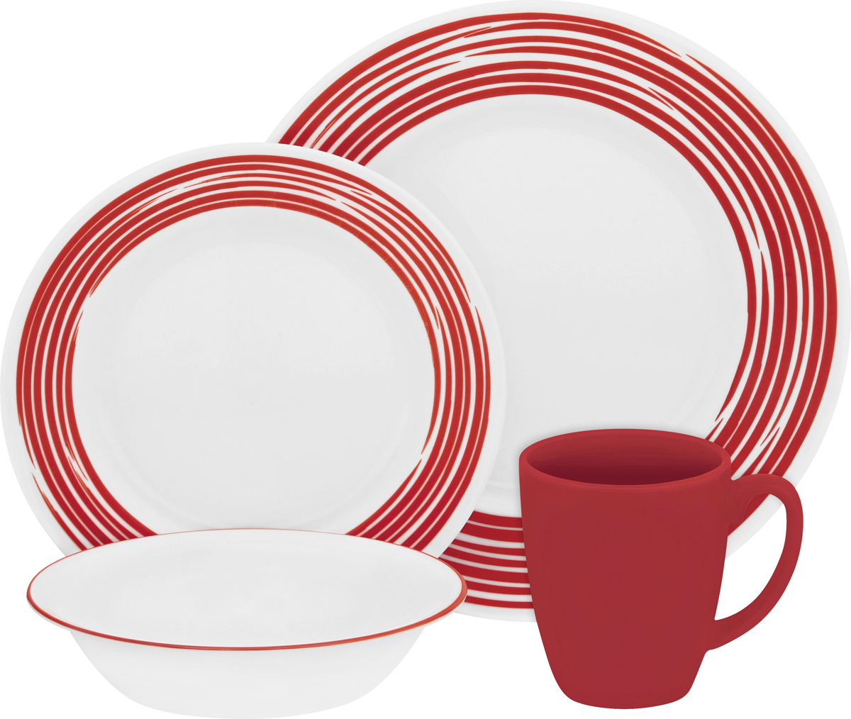 """Посуда Corelle """"Brushed Red"""" воплощает изысканность тонкого фарфора, но остается  верна знаменитой долговечности Corelle. Серия Corelle """"Brushed"""" с необычным рисунком, словно  художник прикоснулся кистью к тарелкам. Посуду можно мыть в посудомоечной машине и  использовать в духовке и микроволновой печи.   Набор посуды """"Brushed Red"""" состоит из:  - обеденных тарелок, 27 см - 4 шт;  - десертных тарелок, 22 см - 4 шт;  - суповых тарелок, 530 мл - 4 шт;  - фарфоровых кружек, 330 мл - 4 шт."""