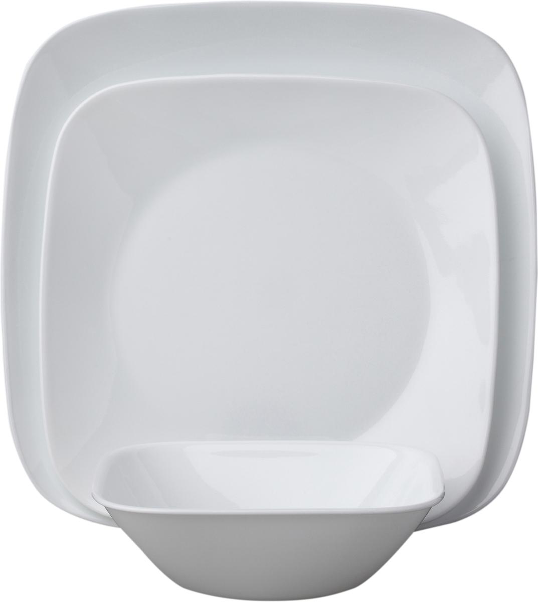 Набор посуды Corelle Pure White, цвет: белый, 18 предметов. 1088641JY-S-19-10Коллекция Corelle Square - очень прочная стеклянная посуда квадратной формы с округленными краями и круглой внутренней частью для удобного использования. Посуда такой оригинальной формы подойдет и для ежедневного использования и для праздников. Серия посуды Corelle Square Pure White - это новая форма американской классики. Дизайн посуды создан студией Levien of London. Набор посуды Pure White состоит из: -тарелка обеденная, 26 см - 6 шт;-тарелка закусочная, 22 см - 6 шт;-тарелка суповая, 650 мл - 6 шт.