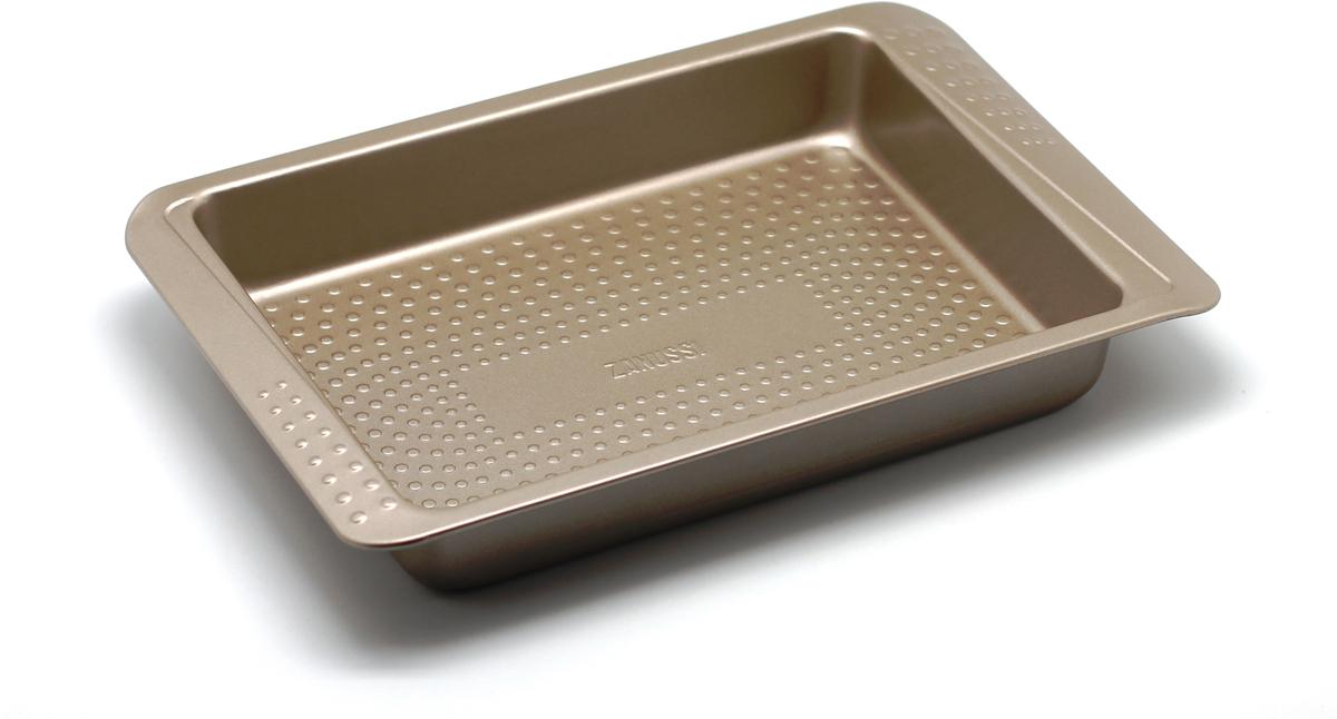 Форма для запекания Zanussi Turin, цвет: бронзовый, 32,5 х 21,6 х 5 смZAC32112CFПрямоугольная форма для запекания Zanussi Turin, выполненная из толстой углеродистой стали, станет хорошим приобретением любой хозяйки. Отличительной особенностью формы являются силиконовые накладки на ручки изделия, благодаря которым вам не придется пользоваться дополнительными средствами для вытаскивания формы из духовки. Форма имеет антипригарное покрытие и утолщенные стенки, которые гарантируют равномерное пропекание изделия. Можно использовать в духовке при температуре до 230°С. Главное преимущество стальных форм Zanussi Turin - это абсолютная химическая нейтральность и экологичность.