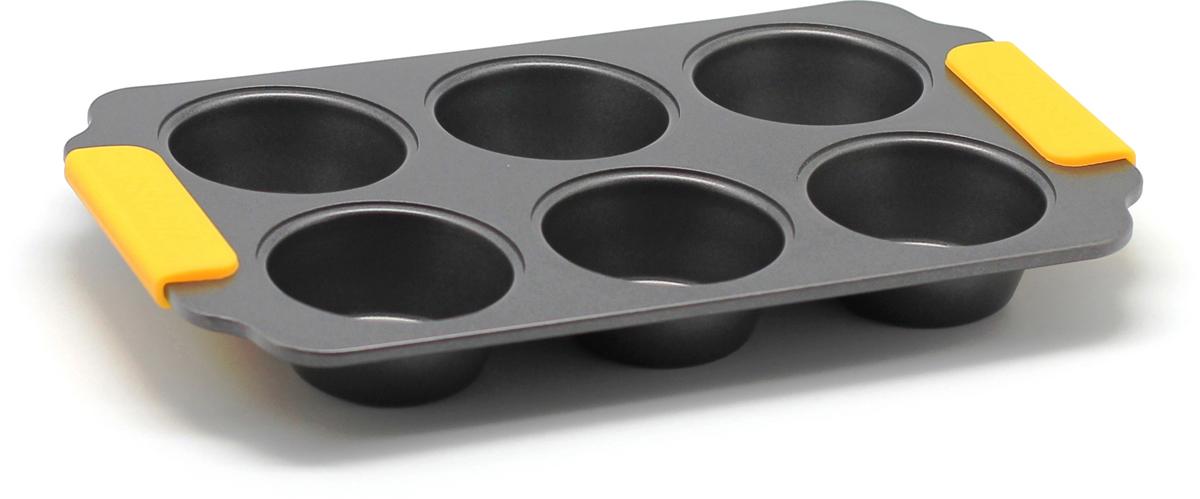 Форма для выпечки маффинов Zanussi Amalfi, цвет: черный, 6 ячеек. ZAC34413CFZAC34413CFФорма для выпечки маффинов Zanussi Amalfi выполнена из толстой углеродистойстали. Отличительной особенностью серии являются силиконовые ручки наизделии, благодаря которым вам не придется пользоваться дополнительнымисредствами для вытаскивания формы из духовки. Форма имеетантипригарноепокрытие и утолщенные стенки, которые гарантируют равномерное пропеканиеизделия. Главное преимуществостальных форм - это абсолютная химическая нейтральность и экологичность.Можно использовать в духовке до 230°С.