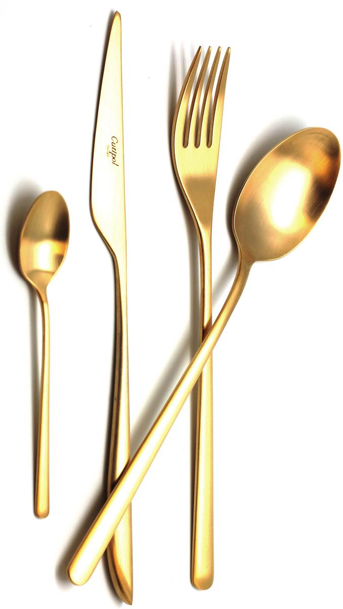 Набор столовых приборов Cutipol Icon Gold, цвет: золотистый матовый, 24 предмета9252Причина популярности столовых приборов Cutipol заключается не только в долговечности изделий, но и в дизайне: от современных стильных форм, разработанных талантливыми дизайнерами, до никогда не выходящей из моды классики.Отменный блеск всех изделий является результатом многоуровневого процесса технологической полировки. Благодаря чему приборы максимально долго остаются гладкими и блестящими. Также все изделия имеют функционально удобную форму. Каждый прибор проходит ручную обработку.Лаконичное изящество наряду с универсальной коллекцией столовых приборов позволяет гармонично сочетать их с разнообразной по форме и декору посудой. Для дома, ресторана, кафе или в качестве подарка можно выбрать различный стиль и подобрать соответствующую серию. Все зависит от того, какую атмосферу вы хотите создать за столом и какие именно блюда планируете подавать гостям.Набор столовых приборов 24 предмета на 6 персон в подарочной коробке. - 6 столовых вилок - 6 столовых ложек - 6 чайных ложек - 6 столовых ножей