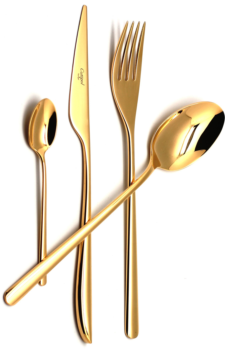 Набор столовых приборов Cutipol Icon, цвет: золотой, 24 предмета. 92519251Набор столовых приборов Cutipol Icon, изготовленный из высококачественной полированной нержавеющей стали, состоит из 6 вилок, 6 ножей, 6 столовых ложек и 6 чайных ложек. Качество столовых приборов во многом зависит от того материала, из которого они сделаны. Однако не менее важно и качество изготовления. Молекулярная структура нержавеющей хромоникелевой стали 18/10 (18% хрома, 10% никеля) с высокими гигиеническими показателями позволяет столовым приборам долго сохранять свой первоначальный внешний вид даже при интенсивном использовании и регулярном мытье.Отменный блеск всех изделий является результатом многоуровневого процесса технологической полировки. Благодаря этому приборы максимально долго остаются гладкими и блестящими. Все изделия имеют функциональную удобную форму.Набор выполнен с применением передовых технологий производства из высококлассных материалов и полностью соответствует самым строгим мировым стандартам в области безопасности и экологии. Изящныевилки, ложки и ножи достойны королевского стола. Эффектный внешний вид этих приборов в сочетании с надежностью, практичностью и удобством в эксплуатации понравится всем, кто ценит качество и стиль.Для приборов предусмотрена деревянная шкатулка. Внутренняя поверхностьзадрапирована черной бархатистой тканью, для каждого прибора имеется своя выемка.Можно мыть в посудомоечной машине.Длина вилки: 22 см. Длина ножа: 22,5 см. Длина лезвия ножа: 9 см. Длина столовой ложки: 21 см. Длина чайной ложки: 12,5 см.