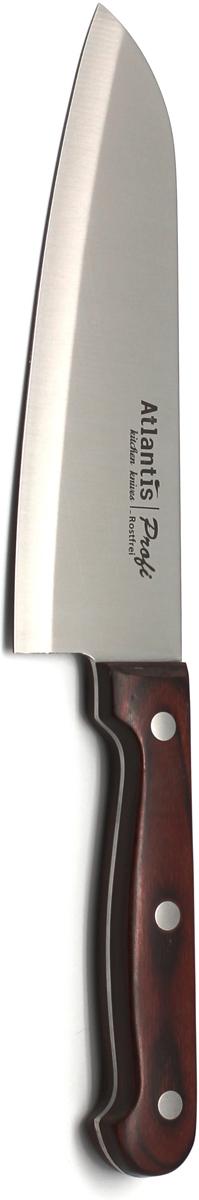 Нож поварской Atlantis Profi, длина лезвия 15 см. 24414-SK24414-SKНож Atlantis Profi изготовлен из высококачественной нержавеющей стали стали. Благодаря лезвию с особой формой режущей кромки, такой нож прекрасно подойдет для очистки, разделки и нарезки фруктов, овощей и мяса. Рукоятка, выполненная из пластика с оформлением под дерево, удобно лежит в руке, не скользит и делает резку удобной и безопасной.Практичный и функциональный нож Atlantis Profi займет достойное место среди аксессуаров на вашей кухне. Характеристики:Материал: сталь, пластик. Общая длина ножа: 28 см. Длина лезвия: 15 см. Размер упаковки: 37,5 см х 7 см х 2 см. Артикул: 24414-SK.