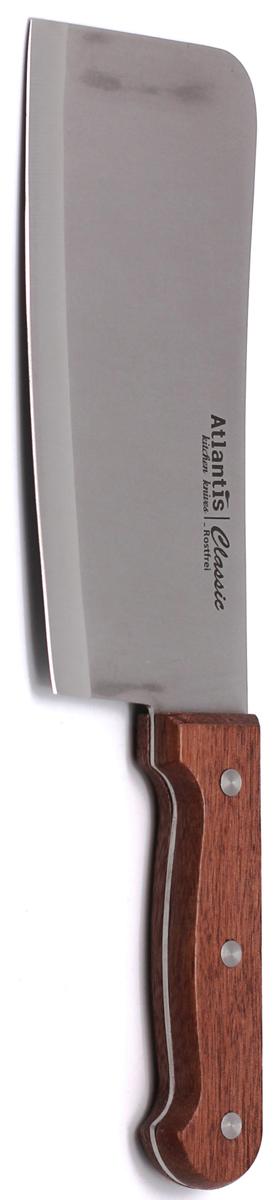 Нож разделочный Atlantis Classic, длина лезвия 18 см. 24705-SK24705-SKНож разделочный Atlantis Classic изготовлен из высококачественной стали.Рукоятка, выполненная из пластика с оформлением под дерево, удобно лежит в руке, не скользит и делает резку удобной и безопасной. Практичный и функциональный нож Atlantis Classic займет достойное место среди аксессуаров на вашей кухне. Характеристики:Материал: сталь, пластик. Общая длина ножа: 29,5 см. Длина лезвия: 18 см. Ширина лезвия: 7 см. Размер упаковки: 38,5 см х 9,5 см х 2 см. Артикул: 24705-SK.