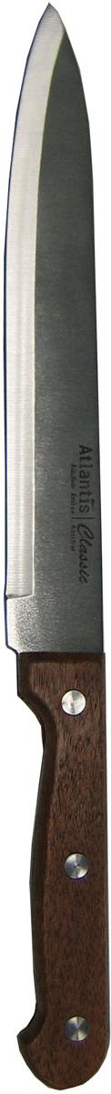 Нож для нарезки Atlantis, длина 19 см. 24713-SK24713-SKНож одинаково подходит как для повара-профессионала, так и для любителя. Конструкция с удобной эргономичной ручкой с тремя заклепками и высококачественная немецкая нержавеющая сталь были соединены в классическом стиле, отлично сочетающемся с оформлением.