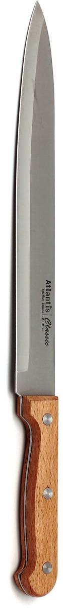 Нож для нарезки Atlantis Classic, длина лезвия 23 см. 24812-SK24812-SKНож Atlantis Classic изготовлен из высококачественной стали ручной заточки. Благодаря узкому острому лезвию с особой формой режущей кромки, такой нож прекрасно подойдет для нарезки фруктов, овощей и мяса.Рукоятка, выполненная из пластика с оформлением под дерево, удобно лежит в руке, не скользит и делает резку удобной и безопасной. Практичный и функциональный нож Atlantis Classic займет достойное место среди аксессуаров на вашей кухне. Характеристики:Материал: сталь, пластик. Общая длина ножа: 36 см. Длина лезвия: 23 см. Ширина лезвия: 2,7 см. Размер упаковки: 41 см х 6,5 см х 2 см. Артикул: 24812-SK.