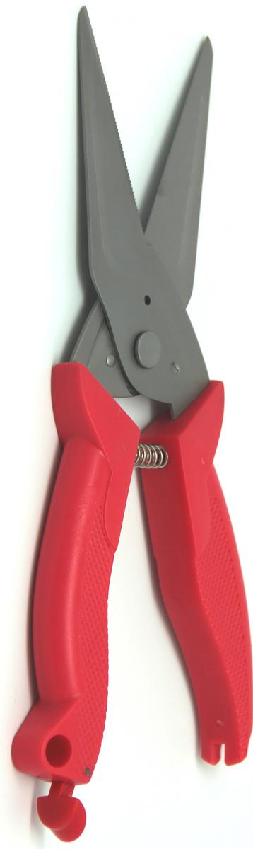 Ножницы кухонные Atlantis, универсальные, цвет: красный. 18LF-1001-R18LF-1001-RКухонные ножницы Atlantis - высококачественный инструмент, который оценит и опытная хозяйка, и профессиональный кулинар. Они изготовлены из прочной нержавеющей стали и пластика. Ножницы похожи на обычные, но имеют более мощные утолщенные ручки и лезвия. Они отлично справляются со многими кухонными работами, начиная с нарезки свежей зелени или птицы и вскрытия прочных картонных и полимерных упаковок и заканчивая разделкой рыбы и птицы. Характеристики:Материал: сталь, пластик. Цвет: красный. Длина ножниц: 25 см. Размер упаковки: 32 см х 11 см х 2,5 см. Артикул: 18LF-1001-R.