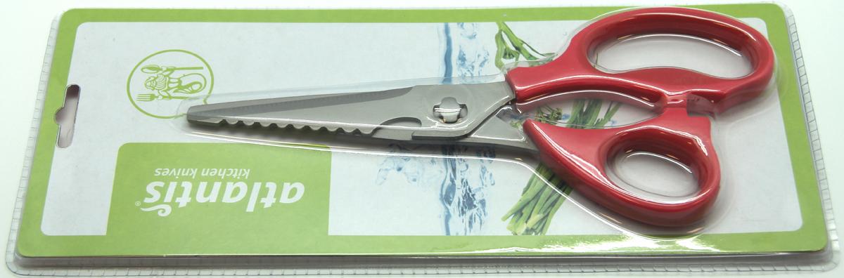 Ножницы кухонные Atlantis, разборные, цвет: красный. 18LF-1002-R18LF-1002-RКухонные ножницы Atlantis изготовлены из высококачественной стали с ручной заточкой. Ручки ножниц выполнены из пластика красного цвета.Кухонные ножницы предназначены для резки мяса и чистки рыбы. Имеется овальная полость между ручками, которая используется для колки орехов. Характеристики:Материал: сталь, пластик. Цвет: красный. Длина ножниц: 21,5 см. Размер упаковки: 28,5 см х 11,5 см х 2 см. Артикул: 18LF-1002-R.