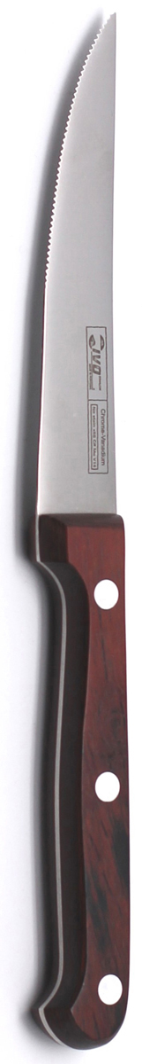 Нож для стейка Ivo, длина лезвия 10,5 см. 1200612006Нож для стейка Ivo изготовлен из высококачественной нержавеющей стали. Удобная рукоятка ножа, выполненная из дерева, не позволит выскользнуть ему из руки. Небольшой нож с волнообразной кромкой и поднятым вверх острием прекрасно подойдет для подачи к мясным блюдам.Нож для стейка Ivo займет достойное место среди аксессуаров на вашей кухне. Характеристики:Материал: нержавеющая сталь, дерево.Длина лезвия: 10,5 см.Ширина лезвия: 1,8 см.Общая длина ножа: 21 см.Артикул: 12006.
