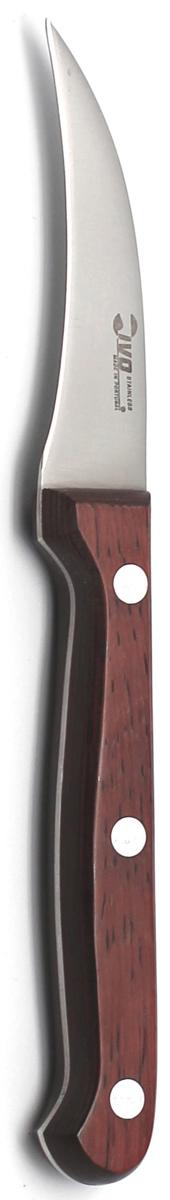 Нож для чистки Ivo, длина лезвия 6 см. 1202712027Нож для чистки Ivo изготовлен из нержавеющей стали. Рукоятка, выполненная из пластика с оформлением под дерево, удобно лежит в руке, не скользит и делает резку удобной и безопасной. Изогнутое лезвие прекрасно подходит для очистки от кожуры овощей и фруктов. Практичный и функциональный нож Ivo займет достойное место среди аксессуаров на вашей кухне. Характеристики:Материал: нержавеющая сталь, пластик.Длина лезвия: 6 см.Ширина лезвия: 1,3 см.Общая длина ножа: 18 см.Размер упаковки: 30 см х 9 см х 1,5 см.Артикул: 12027.