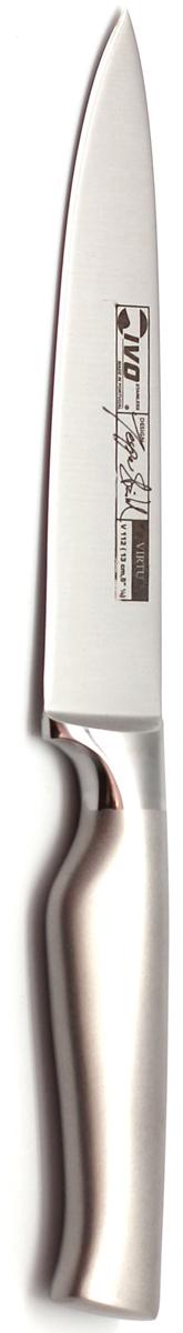 Нож для овощей Ivo, длина лезвия 13 см. 30022.1330022.13Нож для овощей Ivo - незаменимый помощник на кухне. Нож выкован единой деталью. Лезвие выполнено из высококачественной молибден-ванадиевой нержавеющей стали. Высокое содержание хрома обеспечивает надежную защиту от коррозии. Молибден и ванадий улучшают структуру металла и обеспечивают необходимую твердость. При ковке легирующие добавки максимально концентрируются в рабочей зоне лезвия, что значительно улучшает структуру и повышает твердость у кованых ножей до 58 единиц по Роквеллу (шкала твердости). Кованые ножи Ivo долго держат заточку, при этом они устойчивы к появлению сколов и трещин. Общая длина ножа: 24 см.