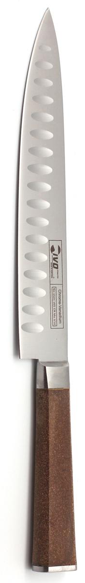 Нож для резки Ivo, с канавками, длина лезвия 20 см. 33404.2033404.20Нож кованый для резки мяса IVO Cork имеет длинное лезвие с заостренным концом, что идеально подходит для нарезки всех видов мяса. С помощью ножа для нарезки вы получаете не просто порезанный продукт, а аккуратно и ровно нарезанные ломтики. Практичный и функциональный нож займет достойное место среди аксессуаров на вашей кухне. Немецкая молибден-ванадиевая сталь наделяет ножи износостойкостью и устойчивостью к внешним воздействиям, поэтому ножевые изделия Cork будут радовать своих обладателей безупречной работой долгие годы.