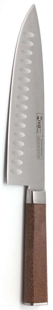 Нож поварской Ivo, с канавками, длина лезвия 20 см. 33439.2033439.20Поварской кованый нож IVO Cork оптимально сбалансирован, а кромки или канавки уменьшают прилипание продуктов к ножу. Нож имеет широкий спектр применения: нарезка овощей, фруктов, зелени, шинковка капусты, быстрое измельчение продуктов, нарезка порционных кусков мяса и рыбы, даже замороженных. Практичный и функциональный нож займет достойное место среди аксессуаров на вашей кухне. Немецкая молибден-ванадиевая сталь наделяет ножи износостойкостью и устойчивостью к внешним воздействиям, поэтому ножевые изделия Cork будут радовать своих обладателей безупречной работой долгие годы.