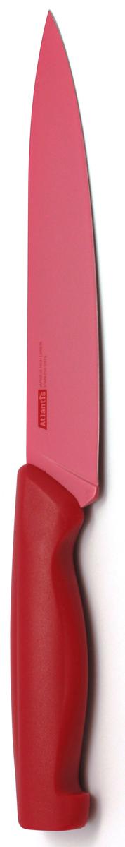 Нож для нарезки Atlantis, цвет: красный, длина лезвия 18 см. 7S-R7S-RНож для нарезки Atlantis изготовлен из японской высокоуглеродистой нержавеющей стали. Прочный и острый клинок обеспечивает идеальную нарезку мяса, овощей, сыра и других продуктов. Безопасное покрытие лезвия не дает пище прилипать к ножу. Эргономичная рукоятка изготовлена из пластика с антибактериальной защитой Microban, которая замедляет рост бактерий, вызывающих пятна и неприятный запах. Яркий дизайн, а также красивое сочетание красных оттенков клинка и ручки добавит красок в интерьер вашей кухни. Характеристики: Материал: нержавеющая сталь, пластик. Цвет: красный. Длина лезвия: 18 см. Общая длина ножа: 29,5 см. Размер упаковки: 39,5 см х 8,5 см х 2 см.Артикул: 7S-R.