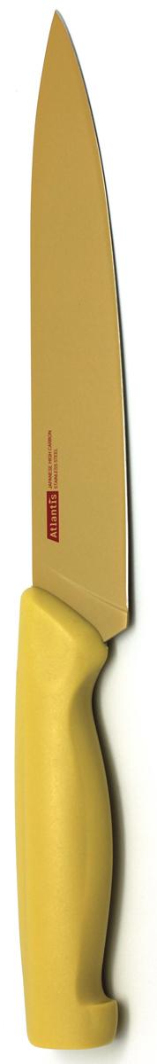 Нож для нарезки Atlantis, цвет: желтый, длина лезвия 17,5 см. 7S-Y7S-YНож для нарезки Atlantis изготовлен из японской высокоуглеродистой нержавеющей стали. Прочный и острый клинок обеспечивает идеальную нарезку мяса, овощей, сыра и других продуктов. Безопасное покрытие лезвия не дает пище прилипать к ножу. Эргономичная рукоятка изготовлена из пластика с антибактериальной защитой Microban, которая замедляет рост бактерий, вызывающих пятна и неприятный запах. Яркий дизайн, а также красивое сочетание желтых оттенков клинка и ручки добавит красок в интерьер вашей кухни. Характеристики: Материал: нержавеющая сталь, пластик. Цвет: желтый. Длина лезвия: 17,5 см. Общая длина ножа: 29,5 см. Артикул: 7S-Y.
