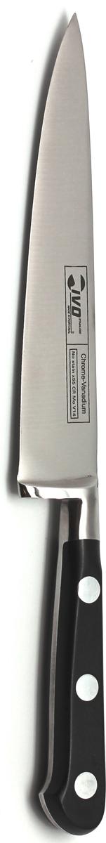 Нож для резки мяса Ivo, 15 см8013Для КомпанииIvo характерно использование последних технологических разработок. Тщательно отобранное сырье и прекрасный дизайн ножей от Ivo отвечает интересам самых требовательных покупателей, а также профессиональных поваров. Чтобы соответствовать этому стандарту, для изготовления ножей была выбрана сталь высочайшего качества.Отличительная особенность ножей фирмы - это безукоризненно острое лезвие, не нуждающееся в заточке. Уход за ножами очень прост! Для поддержания ножей в рабочем состоянии достаточно 1 раз в месяц обработать край лезвия мусатом (специальным точилом). Для чистки ножей подойдут неабразивные моющие средства.Мы представляем новую серию ножей компании Ivo Серия 8000 - Мастер Кухни (Cuisi Master). Эта первоклассная Европейская Коллекция представляет кованые ножи из нержавеющей стали с практически неразрушимыми синтетическими рукоятками. Эти ножи - идеально сбалансированный, гигиенически безопасный инструмент для любой кухни. И, конечно же, все ножи серии 8000 изготовлены из немецкой стали высочайшего качества. Над дизайном умело поработали французские мастера. Длина лезвия: 15 см.Длина ножа: 26 см.Материал: нержавеющая сталь.Страна: Португалия.
