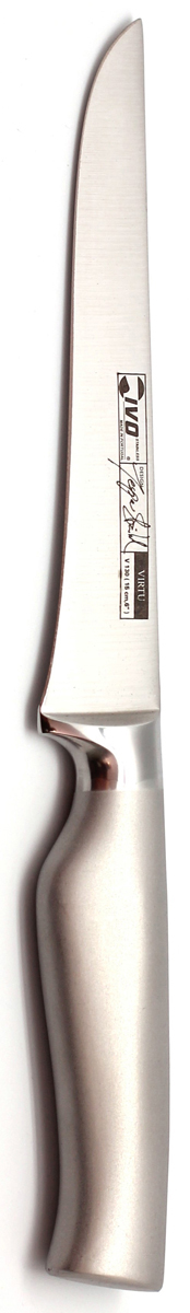 """Для Компании  Ivo характерно использование последних технологических разработок. Тщательно отобранное сырье и прекрасный дизайн ножей от Ivo отвечает интересам самых требовательных покупателей, а также профессиональных поваров. Чтобы соответствовать этому стандарту, для изготовления ножей была выбрана сталь высочайшего качества.  Отличительная особенность ножей фирмы - это безукоризненно острое лезвие, не нуждающееся в заточке. Уход за ножами очень прост! Для поддержания ножей в рабочем состоянии достаточно 1 раз в месяц обработать край лезвия мусатом (специальным точилом). Для чистки ножей подойдут неабразивные моющие средства.  Мы представляем новую серию ножей компании """"Ivo"""" - Линия 30000 - Настоящие """"Виртуозы на Вашей кухне""""(Virtu). Инновационный дизайн - основа этих идеально сконструированных ножей! Новые стильные ножи Ivo, с формой придуманной дизайнером Jesper Stahl, соединяют в себе выдающуюся практичность и современный изгиб. Острые как бритва клинки выкованы методом """"горячего падения"""" из единых слитков хирургической стали и имеют лезвие, заточенное в форме конуса, которое равномерно стачивается, тем самым, защищая режущую кромку ножа от разрушения и сохраняя его острым. Уникально созданные рукоятки из нержавеющей стали идеально сбалансированы, с матовой поверхностью позволяющей удобно держать нож, так как он не скользит в руке. Все это делает ножи Virtu долгожданным дополнением к любой кухне.       Длина лезвия: 15 см.  Длина ножа: 29 см.  Материал: нержавеющая сталь.  Страна: Португалия."""