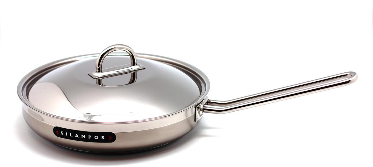 """Каждая хозяйка оценит хорошую кухонную посуду, если еда с помощью нее готовится быстро и вкусно, а уход за ней минимален! Представляем сковороду """"НАУТИЛУС"""", которая имеет удобное инкапсулированное термическое дно Impact Disc Plus, которое было разработано для эффективной работы на индукционных, газовых, керамических плитах. Специальный материал сковороды позволяет лучше распределять тепло от плиты, значительно снижая потребление энергии и время готовки. Гарантия сковородки - 25 лет при правильной эксплуатации. Инструкция по эксплуатации прилагается.   Португальская фабрика  Silampos была основана 1951, и уже более полувека выпускает кухонную посуду, используя последние достижения в области производства, привлекая лучших специалистов и дизайнеров. Посуда Silampos является лауреатом многочисленных Португальских  и Европейских конкурсов и по праву сохраняет лидирующие позиции на рынке кухонной посуды.  Для ресторанов и отелей фабрикой была разработана специальная серия GRANDHOTEL. Посуда изготовлена из нержавеющей стали - это хорошо зарекомендовавший себя сплав хрома и никеля 18/10 и оснащена специальным алюминиевым диском - Impact Disk, разработанным с применением передовой  технологии соединения диска с дном сковороды и защитной оболочкой из нержавеющей стали под высоким давлением. Использование алюминиевого жарораспределяющего диска  позволяет значительно сократить время приготовления пищи, а ресторану сэкономить самое дорогое - время клиента!  Кухонная посуда Silampos удобна в применении и отличается современным дизайном. Сквозной профиль ручек позволяет более уверено держать посуду и переносить ее без прихваток. Посуду Silampos можно использовать на любой из существующих газовых и электрических плит, а также ее можно мыть в посудомоечных машинах.  Компания Silampos, заботясь о своих покупателях, разработала и изготовила крышки таким образом, что они в процессе приготовления пищи плотно прилегают к верхней кромке изделия, а ручки при этом не нагреваются и остаются """