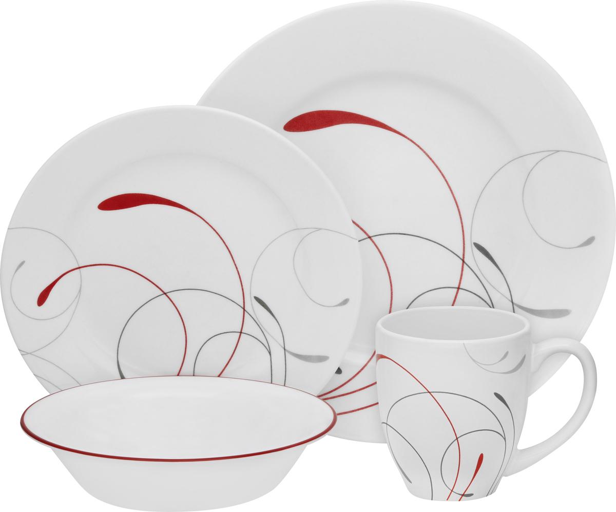 Набор посуды Corelle Splendor, цвет: белый, 16 предметов. 11143511114351Преимуществами посуды Corelle являются долговечность, красота и безопасность в использовании. Вся посуда Corelle изготавливается из высококачественного ударопрочного трехслойного стекла Vitrelle и украшена деколями американских и европейских дизайнеров. Рисунки не стираются и не царапаются, не теряют свою яркость на протяжении многих лет. Посуда Corelle не впитывает запахов и очень долгое время выглядит как новая. Уникальная эмаль, используемая во время декорирования, фактически становится единым целым с поверхностью стекла, что гарантирует долгое сохранение нанесенного рисунка. Еще одним из главных преимуществ посуды Corelle является ее безопасность. В производстве используются только безопасные для пищи пигменты эмали, при производстве посуды не применяется вредный для здоровья человека меламин. Изделия из материала Vitrelle: Прочные и легкие; Выдерживают температуру до 180С; Могут использоваться в посудомоечной машине и микроволновой печи; Штабелируемые; Устойчивы к царапинам; Ударопрочные; Не содержит меламин.4 обеденные тарелки 27 см; 4 закусочные тарелки 22 см; 4 суповые торелки 530 мл; 4 фарфоровые кружки 380 мл