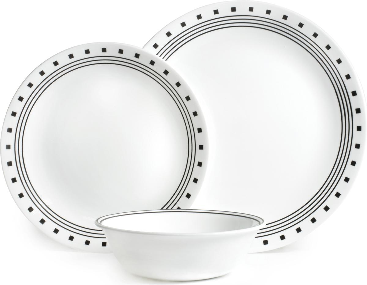 Набор посуды Corelle City Block, цвет: белый, 18 предметов. 10886211088621Преимуществами посуды Corelle являются долговечность, красота и безопасность в использовании. Вся посуда Corelle изготавливается из высококачественного ударопрочного трехслойного стекла Vitrelle и украшена деколями американских и европейских дизайнеров. Рисунки не стираются и не царапаются, не теряют свою яркость на протяжении многих лет. Посуда Corelle не впитывает запахов и очень долгое время выглядит как новая. Уникальная эмаль, используемая во время декорирования, фактически становится единым целым с поверхностью стекла, что гарантирует долгое сохранение нанесенного рисунка. Еще одним из главных преимуществ посуды Corelle является ее безопасность. В производстве используются только безопасные для пищи пигменты эмали, при производстве посуды не применяется вредный для здоровья человека меламин. Изделия из материала Vitrelle: Прочные и легкие; Выдерживают температуру до 180С; Могут использоваться в посудомоечной машине и микроволновой печи; Штабелируемые; Устойчивы к царапинам; Ударопрочные; Не содержит меламин.6 обеденных тарелок 26 см; 6 закусочных тарелок 22 см; 6 суповых тарелок 530 мл