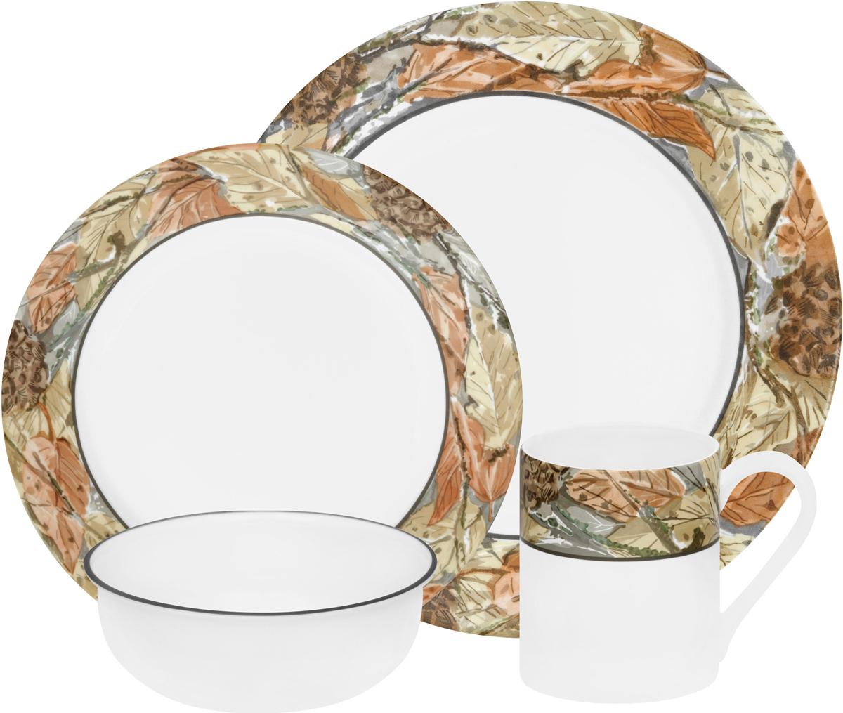 Набор посуды Corelle Woodland Leaves, цвет: белый, 16 предметов. 11095661109566Преимуществами посуды Corelle являются долговечность, красота и безопасность в использовании. Вся посуда Corelle изготавливается из высококачественного ударопрочного трехслойного стекла Vitrelle и украшена деколями американских и европейских дизайнеров. Рисунки не стираются и не царапаются, не теряют свою яркость на протяжении многих лет. Посуда Corelle не впитывает запахов и очень долгое время выглядит как новая. Уникальная эмаль, используемая во время декорирования, фактически становится единым целым с поверхностью стекла, что гарантирует долгое сохранение нанесенного рисунка. Еще одним из главных преимуществ посуды Corelle является ее безопасность. В производстве используются только безопасные для пищи пигменты эмали, при производстве посуды не применяется вредный для здоровья человека меламин. Изделия из материала Vitrelle: Прочные и легкие; Выдерживают температуру до 180С; Могут использоваться в посудомоечной машине и микроволновой печи; Штабелируемые; Устойчивы к царапинам; Ударопрочные; Не содержит меламин.4 обеденные тарелки 27 см; 4 закусочные тарелки 22 см; 4 суповые чаши 470 мл; 4 фарфоровые кружки 330 мл