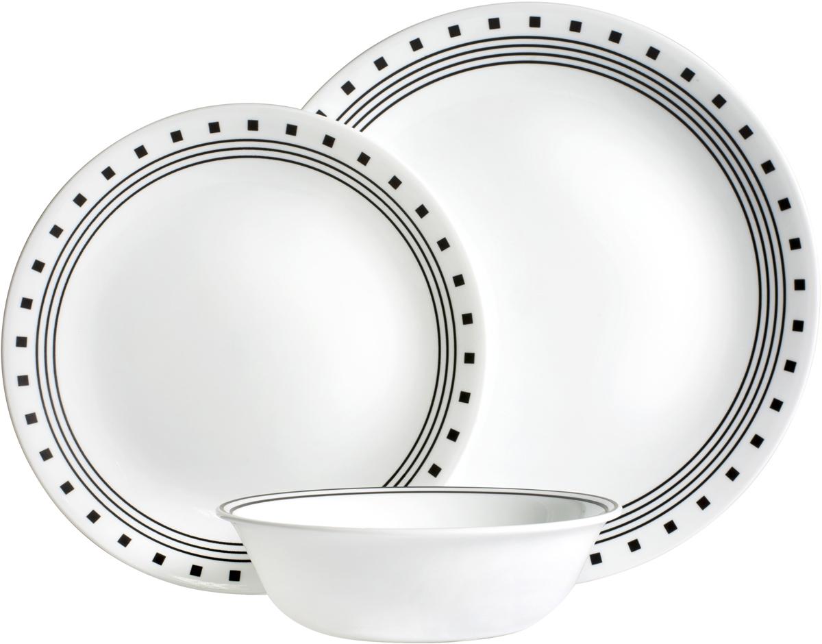Преимуществами посуды Corelle являются долговечность, красота и безопасность в использовании. Вся посуда Corelle изготавливается из высококачественного ударопрочного трехслойного стекла Vitrelle и украшена деколями американских и европейских дизайнеров. Рисунки не стираются и не царапаются, не теряют свою яркость на протяжении многих лет. Посуда Corelle не впитывает запахов и очень долгое время выглядит как новая. Уникальная эмаль, используемая во время декорирования, фактически становится единым целым с поверхностью стекла, что гарантирует долгое сохранение нанесенного рисунка. Еще одним из главных преимуществ посуды Corelle является ее безопасность. В производстве используются только безопасные для пищи пигменты эмали, при производстве посуды не применяется вредный для здоровья человека меламин.                                                                                                                                                                 Изделия из материала Vitrelle:                                                                                                                                                                 Прочные и легкие; Выдерживают температуру до 180С; Могут использоваться в посудомоечной машине и микроволновой печи; Штабелируемые; Устойчивы к царапинам; Ударопрочные; Не содержит меламин.  4 обеденные тарелки 26 см; 4 закусочные тарелки 22 см; 4 суповые тарелки 530 мл