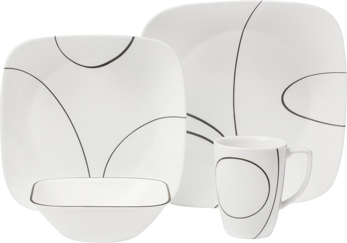 Набор посуды Corelle Simple Lines, цвет: белый, 16 предметов. 10699831069983Преимуществами посуды Corelle являются долговечность, красота и безопасность в использовании. Вся посуда Corelle изготавливается из высококачественного ударопрочного трехслойного стекла Vitrelle и украшена деколями американских и европейских дизайнеров. Рисунки не стираются и не царапаются, не теряют свою яркость на протяжении многих лет. Посуда Corelle не впитывает запахов и очень долгое время выглядит как новая. Уникальная эмаль, используемая во время декорирования, фактически становится единым целым с поверхностью стекла, что гарантирует долгое сохранение нанесенного рисунка. Еще одним из главных преимуществ посуды Corelle является ее безопасность. В производстве используются только безопасные для пищи пигменты эмали, при производстве посуды не применяется вредный для здоровья человека меламин. Изделия из материала Vitrelle: Прочные и легкие; Выдерживают температуру до 180С; Могут использоваться в посудомоечной машине и микроволновой печи; Штабелируемые; Устойчивы к царапинам; Ударопрочные; Не содержит меламин.4 обеденные тарелки 26 см; 4 закусочные тарелки 22 см; 4 суповые тарелки 650 мл; 4 фарфоровые кружки 350 мл