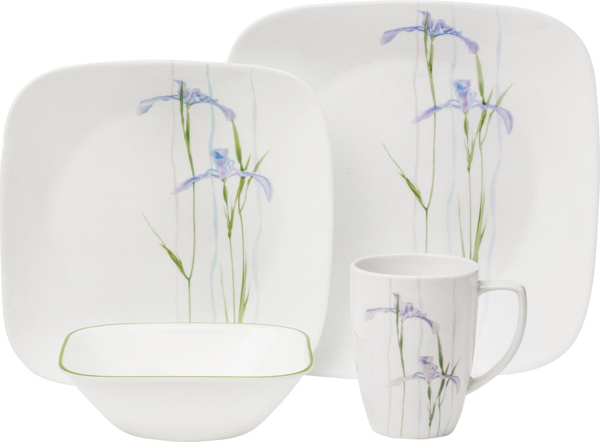 Набор посуды Corelle Shadow Iris, цвет: белый, 16 предметов. 10856451085645Преимуществами посуды Corelle являются долговечность, красота и безопасность в использовании. Вся посуда Corelle изготавливается из высококачественного ударопрочного трехслойного стекла Vitrelle и украшена деколями американских и европейских дизайнеров. Рисунки не стираются и не царапаются, не теряют свою яркость на протяжении многих лет. Посуда Corelle не впитывает запахов и очень долгое время выглядит как новая. Уникальная эмаль, используемая во время декорирования, фактически становится единым целым с поверхностью стекла, что гарантирует долгое сохранение нанесенного рисунка. Еще одним из главных преимуществ посуды Corelle является ее безопасность. В производстве используются только безопасные для пищи пигменты эмали, при производстве посуды не применяется вредный для здоровья человека меламин. Изделия из материала Vitrelle: Прочные и легкие; Выдерживают температуру до 180С; Могут использоваться в посудомоечной машине и микроволновой печи; Штабелируемые; Устойчивы к царапинам; Ударопрочные; Не содержит меламин.4 обеденные тарелки 26 см; 4 закусочные тарелки 22 см; 4 суповые тарелки 650 мл; 4 фарфоровые кружки 350 мл