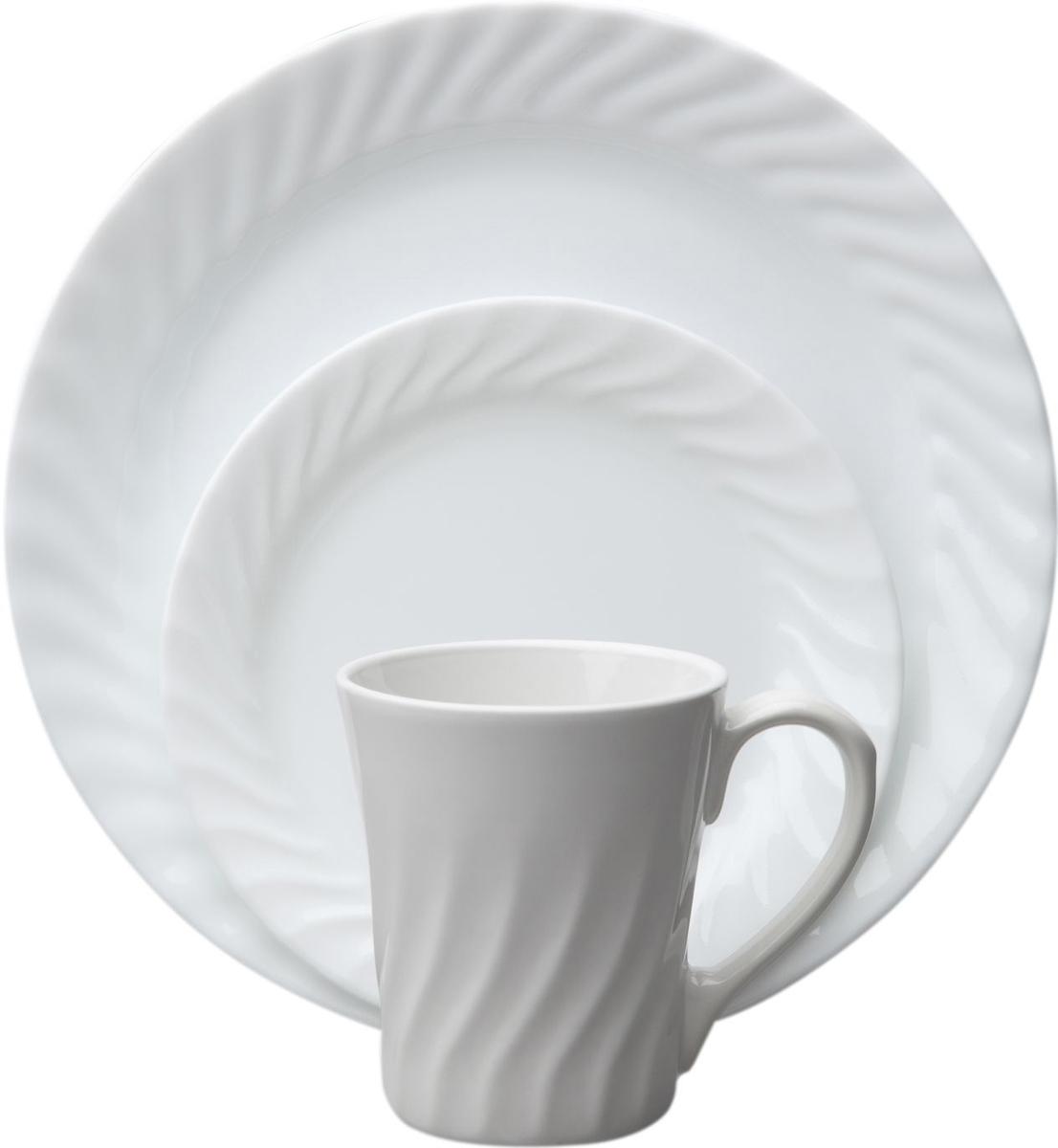 Набор посуды Corelle Enhancements, цвет: белый, 16 предметов. 10865241086524Преимуществами посуды Corelle являются долговечность, красота и безопасность в использовании. Вся посуда Corelle изготавливается из высококачественного ударопрочного трехслойного стекла Vitrelle и украшена деколями американских и европейских дизайнеров. Рисунки не стираются и не царапаются, не теряют свою яркость на протяжении многих лет. Посуда Corelle не впитывает запахов и очень долгое время выглядит как новая. Уникальная эмаль, используемая во время декорирования, фактически становится единым целым с поверхностью стекла, что гарантирует долгое сохранение нанесенного рисунка. Еще одним из главных преимуществ посуды Corelle является ее безопасность. В производстве используются только безопасные для пищи пигменты эмали, при производстве посуды не применяется вредный для здоровья человека меламин. Изделия из материала Vitrelle: Прочные и легкие; Выдерживают температуру до 180С; Могут использоваться в посудомоечной машине и микроволновой печи; Штабелируемые; Устойчивы к царапинам; Ударопрочные; Не содержит меламин.4 обеденные тарелки 26 см; 4 десертные тарелки 18 см; 4 суповые тарелки 530 мл; 4 фарфоровые кружки 270 мл