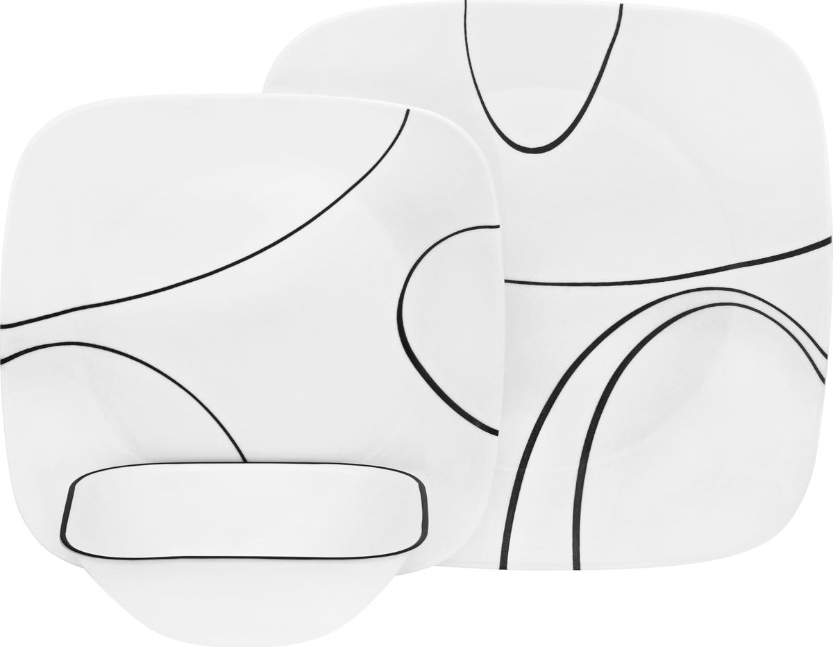 """Набор посуды Corelle """"Simple Lines"""" состоит из 18 предметов: 6 обеденных тарелок диаметром 26 см; 6 закусочных тарелок диаметром 22 см; 6 суповых тарелок объемом 650 мл.               Преимуществами посуды """"Corelle"""" являются долговечность, красота и безопасность в использовании. Вся посуда изготавливается из высококачественного ударопрочного трехслойного стекла Vitrelle и украшена деколями американских и европейских дизайнеров. Рисунки не стираются и не царапаются, не теряют свою яркость на протяжении многих лет. Посуда не впитывает запахов и очень долгое время выглядит как новая. Уникальная эмаль, используемая во время декорирования, фактически становится единым целым с поверхностью стекла, что гарантирует долгое сохранение нанесенного рисунка. Еще одним из главных преимуществ посуды """"Corelle"""" является ее безопасность. В производстве используются только безопасные для пищи пигменты эмали, при производстве посуды не применяется вредный для здоровья человека меламин."""