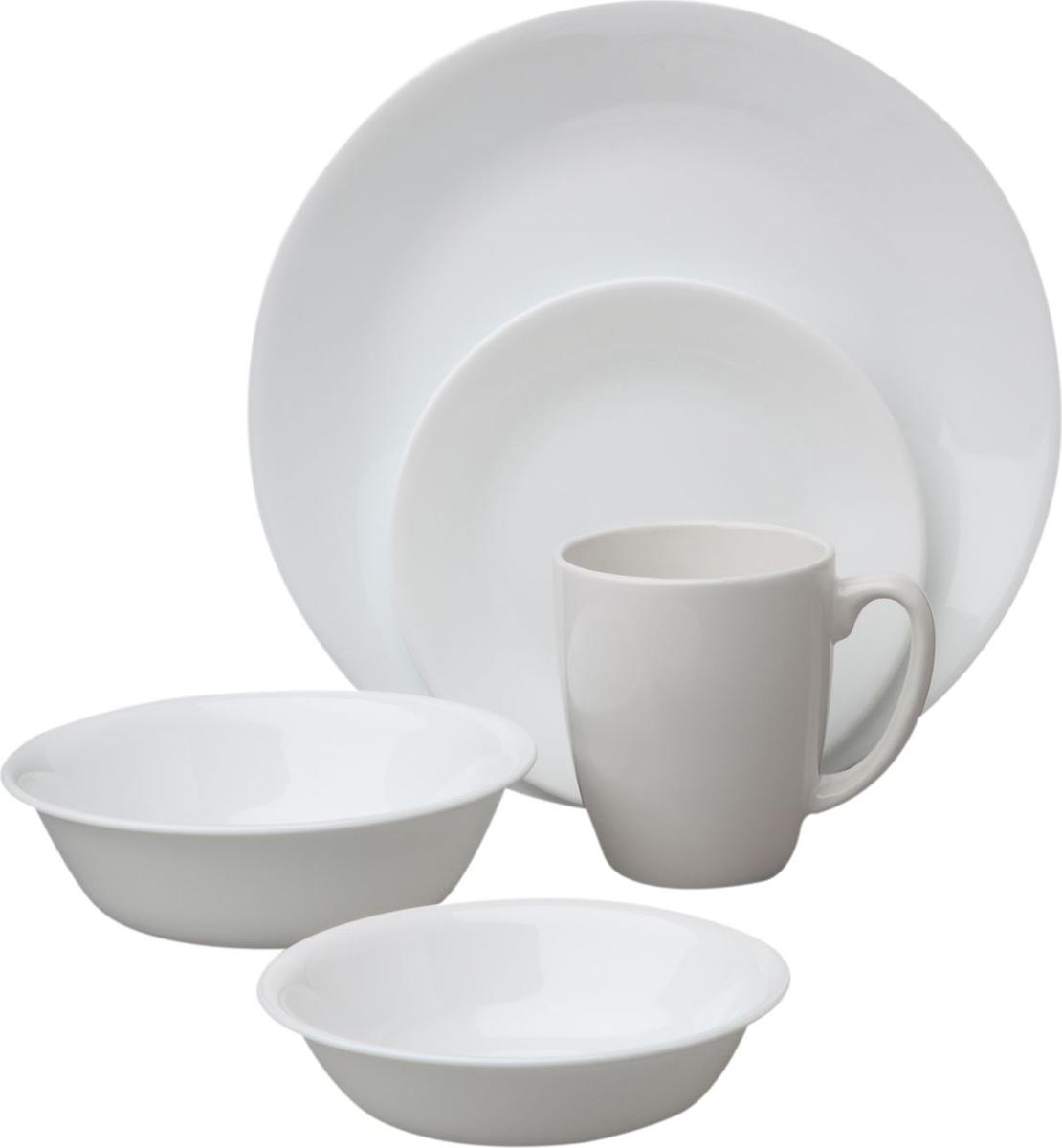 Набор посуды Corelle Winter Frost White, цвет: белый, 30 предметов. 10886591088656Преимуществами посуды Corelle Winter Frost White являются долговечность, красота и безопасность в использовании. Посуда изготавливается из высококачественного ударопрочного трехслойного стекла Vitrelle и украшена деколями американских и европейских дизайнеров. Посуда Corelle не впитывает запахов и очень долгое время выглядит как новая. Уникальная эмаль, используемая во время декорирования, фактически становится единым целым с поверхностью стекла, что гарантирует долгое сохранение нанесенного рисунка. Еще одним из главных преимуществ посуды Corelle является ее безопасность. В производстве используются только безопасные для пищи пигменты эмали, при производстве посуды не применяется вредный для здоровья человека меламин. Изделия из материала Vitrelle прочные и легкие; выдерживают температуру до 180 С. Посуду можно использовать в посудомоечной машине и микроволновой печи.В набор входят: 6 обеденных тарелок - 26 см; 6 десертных тарелок - 17 см; 6 суповых тарелок - 440 мл; 6 суповых тарелок - 530 мл; 6 фарфоровых кружек - 313 мл.
