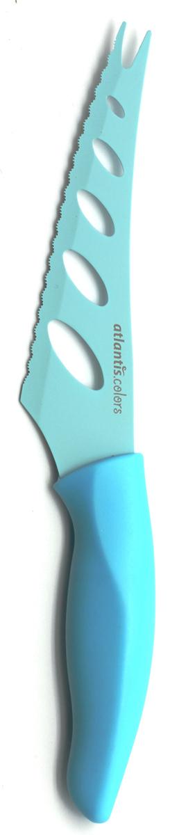 Нож для сыра Atlantis,цвет: синий, длина лезвия 13 см. 5Z-B5Z-BНож для сыра Atlantis превосходно подходит для нарезки твердых и мягких сыров, также на конце лезвия имеется вилка - для сервировки сыра. Нож обработан специальным антибактериальным покрытием Microban.Покрытие Microban - самое надежное в мире средство для защиты от бактерий, грибков, плесени и запахов. Действует постоянно, даже после мытья, обеспечивая большую защиту ножа. Антибактериальная защита работает на протяжении всего срока службы ножа. Особенности ножа Atlantis: японская высокоуглеродистая нержавеющая стальпрочный и острый клинокпластиковая ручка с антибактериальной защитой Microbanэргономический дизайн ручкибезопасное и прочное покрытие лезвия, не дающее пище прилипать к ножукрасивое сочетание цветов ручки и лезвия. Характеристики: Материал: нержавеющая сталь, пластик. Длина: 13 см. Цвет: синий. Производитель: Китай. Артикул: 5Z-B.