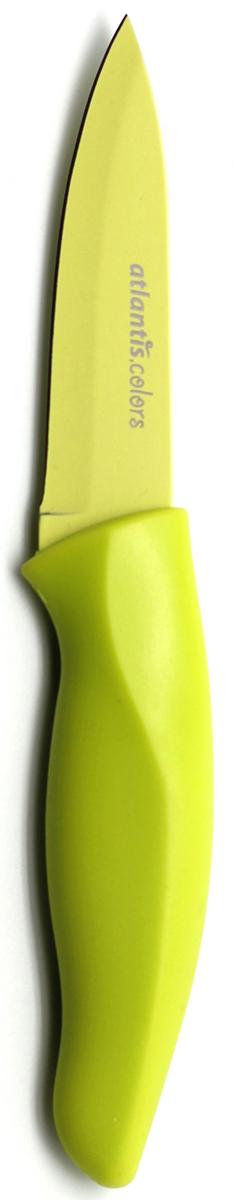 Нож для овощей Atlantis, цвет: зеленый, длина лезвия 9 см. 3P-G3P-GНож для овощей Atlantis всегда должен быть под рукой. Он превосходно подойдет для чистки и нарезки овощей.Нож обработан специальным покрытием Microban. Покрытие Microban - самое надежное в мире средство для защиты от бактерий, грибков, плесени и запахов. Действует постоянно, даже после мытья, обеспечивая большую защиту ножа. Антибактериальная защита работает на протяжении всего срока службы ножа. Особенности ножа Atlantis: японская высокоуглеродистая нержавеющая стальпрочный и острый клинокпластиковая ручка с антибактериальной защитой Microbanэргономический дизайн ручкибезопасное и прочное покрытие лезвия, не дающее пище прилипать к ножукрасивое сочетание цветов ручки и лезвия. Характеристики: Материал: нержавеющая сталь, пластик. Длина: 9 см. Цвет: зеленый. Производитель: Германия. Артикул: 3P-G. Германская компанияAtlantisбыла основана в 2002 году. На сегодняшний деньтовар этой компании широко представлен в России. Особый сплав стали с цинком обеспечивает ножам компании Atlantis особую прочность, благодаря чему ее продукция очень прочная и долговечная! Кроме того, удобный и разнообразный дизайн ножей позволяет выбрать тот вариант, который идеально подойдет именно Вам.Ножи от Atlantis - это ножи нового поколения, а именно линия 2000 - Помощник повара (Chiefs Essential)!Идеально сбалансированные ножи одинаково подходят как для повара-профессионала, так и для любителя, эти ножи призваны соответствовать пожеланиям обоих.