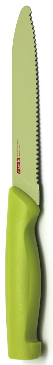 Нож кухонный Atlantis, цвет: зеленый, длина лезвия 13 см. 5K-G5K-GКухонный нож Atlantis всегда должен быть под рукой. Он подойдет для нарезки любых овощей, мяса, рыбы и других продуктов.Нож обработан специальным покрытием Microban. Покрытие Microban - самое надежное в мире средство для защиты от бактерий, грибков, плесени и запахов. Действует постоянно, даже после мытья, обеспечивая большую защиту ножа. Антибактериальная защита работает на протяжении всего срока службы ножа. Особенности ножа Atlantis: японская высокоуглеродистая нержавеющая стальпрочный и острый клинокбезопасное и прочное покрытие лезвия, не дающее пище прилипать к ножукрасивое сочетание цветов ручки и лезвия.Характеристики: Материал:нержавеющая сталь, пластик.Длина лезвия ножа:13 см.Общая длина ножа:22,5 см.Производитель:Германия.Артикул:5K-G.Германская компанияAtlantisбыла основана в 2002 году. На сегодняшний деньтовар этой компании широко представлен в России. Особый сплав стали с цинком обеспечивает ножам компании Atlantis особую прочность, благодаря чему ее продукция очень прочная и долговечная! Кроме того, удобный и разнообразный дизайн ножей позволяет выбрать тот вариант, который идеально подойдет именно Вам.Ножи от Atlantis - это ножи нового поколения, а именно линия 2000 - Помощник повара (Chiefs Essential)!Идеально сбалансированные ножи одинаково подходят как для повара-профессионала, так и для любителя, эти ножи призваны соответствовать пожеланиям обоих.