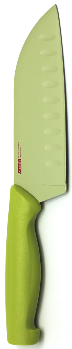 Нож кухонный Atlantis, цвет: зеленый, длина лезвия 13 см. 5T-G5T-GКухонный нож Atlantis всегда должен быть под рукой. Он подойдет для нарезки любых овощей, мяса, рыбы и других продуктов.Нож обработан специальным покрытием Microban. Покрытие Microban - самое надежное в мире средство для защиты от бактерий, грибков, плесени и запахов. Действует постоянно, даже после мытья, обеспечивая большую защиту ножа. Антибактериальная защита работает на протяжении всего срока службы ножа.Особенности ножа Atlantis: японская высокоуглеродистая нержавеющая стальпрочный и острый клинокбезопасное и прочное покрытие лезвия, не дающее пище прилипать к ножукрасивое сочетание цветов ручки и лезвия. Характеристики:Материал: нержавеющая сталь, пластик. Длина: 13 см. Цвет: желтый. Производитель: Китай. Артикул: 5T-G.