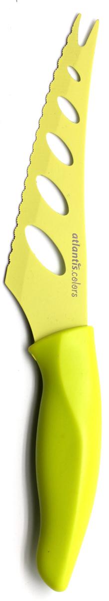 Нож для сыра Atlantis, цвет: зеленый, длина лезвия 13 см. 5Z-G5Z-GНож для сыра Atlantis превосходно подходит для нарезки твердых и мягких сыров, также на конце лезвия имеется вилка - для сервировки сыра. Нож обработан специальным антибактериальным покрытием Microban. Покрытие Microban - самое надежное в мире средство для защиты от бактерий, грибков, плесени и запахов. Действует постоянно, даже после мытья, обеспечивая большую защиту ножа. Антибактериальная защита работает на протяжении всего срока службы ножа. Особенности ножа Atlantis: японская высокоуглеродистая нержавеющая стальпрочный и острый клинокпластиковая ручка с антибактериальной защитой Microbanэргономический дизайн ручкибезопасное и прочное покрытие лезвия, не дающее пище прилипать к ножукрасивое сочетание цветов ручки и лезвия. Характеристики: Материал: нержавеющая сталь, пластик. Длина: 13 см. Цвет: салатовый. Производитель: Китай. Артикул: 5Z-G.