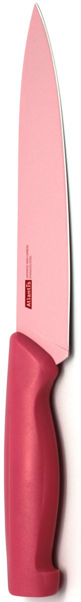 Нож для нарезки Atlantis 18см 7S-P7S-PНож Atlantis высшего качества предназначен для профессионального и домашнего использования, для нарезки продуктов.Очень удобная и эргономичная ручка не позволит выскользнуть ножу из вашей руки.Нож обработан специальным покрытием Microban. Покрытие Microban - самое надежное в мире средство для защиты от бактерий, грибков, плесени и запахов. Действует постоянно, даже после мытья, обеспечивая большую защиту ножа. Антибактериальная защита работает на протяжении всего срока службы ножа. Особенности ножа Atlantis: японская высокоуглеродистая нержавеющая стальпрочный и острый клинокбезопасное и прочное покрытие лезвия, не дающее пище прилипать к ножукрасивое сочетание цветов ручки и лезвия. Характеристики: Длина лезвия: 18 см. Длина общая: 30 см. Производитель: Китай. Артикул: 7S-P. Германская компанияAtlantisбыла основана в 2002 году. На сегодняшний деньтовар этой компании широко представлен в России. Особый сплав стали с цинком обеспечивает ножам компании Atlantis особую прочность, благодаря чему ее продукция очень прочная и долговечная! Кроме того, удобный и разнообразный дизайн ножей позволяет выбрать тот вариант, который идеально подойдет именно Вам.Ножи от Atlantis - это ножи нового поколения, а именно линия 2000 - Помощник повара (Chiefs Essential)!Идеально сбалансированные ножи одинаково подходят как для повара-профессионала, так и для любителя, эти ножи призваны соответствовать пожеланиям обоих.