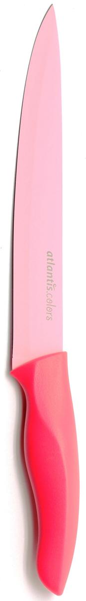 Нож для нарезки Atlantis, цвет: красный, длина лезвия 20 см. 8S-P8S-PНож Atlantis высшего качества предназначен для профессионального и домашнего использования, для нарезки продуктов.Очень удобная и эргономичная ручка не позволит выскользнуть ножу из вашей руки. Нож обработан специальным покрытием Microban. Покрытие Microban - самое надежное в мире средство для защиты от бактерий, грибков, плесени и запахов. Действует постоянно, даже после мытья, обеспечивая большую защиту ножа. Антибактериальная защита работает на протяжении всего срока службы ножа.Особенности ножа Atlantis: японская высокоуглеродистая нержавеющая стальпрочный и острый клинокбезопасное и прочное покрытие лезвия, не дающее пище прилипать к ножукрасивое сочетание цветов ручки и лезвия. Характеристики: Материал: нержавеющая сталь, пластик. Длина: 20 см. Цвет: розовый. Производитель: Китай. Артикул: 8S-P.