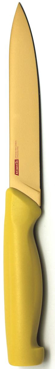 Нож кухонный Atlantis, цвет: желтый, длина лезвия 13 см. 5U-Y5U-YКухонный нож Atlantis всегда должен быть под рукой. Он подойдет для нарезки любых овощей, мяса, рыбы и других продуктов.Нож обработан специальным покрытием Microban. Покрытие Microban - самое надежное в мире средство для защиты от бактерий, грибков, плесени и запахов. Действует постоянно, даже после мытья, обеспечивая большую защиту ножа. Антибактериальная защита работает на протяжении всего срока службы ножа. Особенности ножа Atlantis: японская высокоуглеродистая нержавеющая стальпрочный и острый клинокпластиковая ручка с антибактериальной защитой Microbanэргономический дизайн ручкибезопасное и прочное покрытие лезвия, не дающее пище прилипать к ножукрасивое сочетание цветов ручки и лезвия. Характеристики: Материал: нержавеющая сталь, пластик. Длина: 13 см. Цвет:желтый. Производитель: Китай. Артикул: 5U-Y.