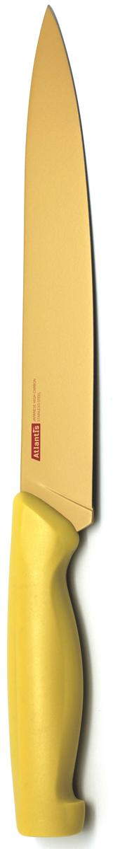 Нож для нарезки Atlantis, цвет: желтый, длина лезвия 20 см. 8S-Y8S-YНож Atlantis высшего качества предназначен для профессионального и домашнего использования, для нарезки продуктов.Очень удобная и эргономичная ручка не позволит выскользнуть ножу из вашей руки.Нож обработан специальным покрытием Microban. Покрытие Microban - самое надежное в мире средство для защиты от бактерий, грибков, плесени и запахов. Действует постоянно, даже после мытья, обеспечивая большую защиту ножа. Антибактериальная защита работает на протяжении всего срока службы ножа.Особенности ножа Atlantis: японская высокоуглеродистая нержавеющая стальпрочный и острый клинокбезопасное и прочное покрытие лезвия не дающее пище прилипать к ножукрасивое сочетание цветов ручки и лезвия. Характеристики: Материал: нержавеющая сталь, пластик. Длина: 20 см. Цвет: желтый. Производитель: Китай. Артикул: 8S-Y.
