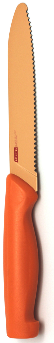Нож кухонный Atlantis, цвет: оранжевый, длина лезвия 13 см. 5K-O5K-OКухонный нож Atlantis всегда должен быть под рукой. Он подойдет для нарезки любых овощей, мяса, рыбы и других продуктов. Нож обработан специальным покрытием Microban. Покрытие Microban - самое надежное в мире средство для защиты от бактерий, грибков, плесени и запахов. Действует постоянно, даже после мытья, обеспечивая большую защиту ножа. Антибактериальная защита работает на протяжении всего срока службы ножа. Особенности ножа Atlantis: японская высокоуглеродистая нержавеющая стальпрочный и острый клинокбезопасное и прочное покрытие лезвия, не дающее пище прилипать к ножукрасивое сочетание цветов ручки и лезвия.Характеристики: Материал:нержавеющая сталь, пластик.Длина лезвия ножа:13 см.Общая длина ножа:22,5 см.Производитель:Германия.Артикул:5K-O. Германская компанияAtlantisбыла основана в 2002 году. На сегодняшний деньтовар этой компании широко представлен в России. Особый сплав стали с цинком обеспечивает ножам компании Atlantis особую прочность, благодаря чему ее продукция очень прочная и долговечная! Кроме того, удобный и разнообразный дизайн ножей позволяет выбрать тот вариант, который идеально подойдет именно Вам.Ножи от Atlantis - это ножи нового поколения, а именно линия 2000 - Помощник повара (Chiefs Essential)!Идеально сбалансированные ножи одинаково подходят как для повара-профессионала, так и для любителя, эти ножи призваны соответствовать пожеланиям обоих.