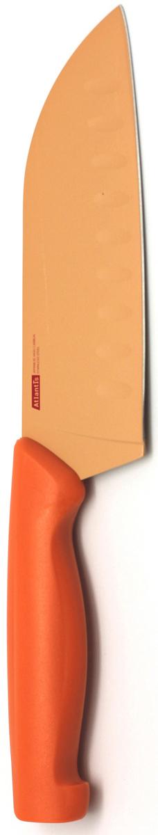 Нож кухонный Atlantis, цвет: оранжевый, длина лезвия 13 см. 5T-O5T-OКухонный нож Atlantis всегда должен быть под рукой. Он подойдет для нарезки любых овощей, мяса, рыбы и других продуктов.Нож обработан специальным покрытием Microban. Покрытие Microban - самое надежное в мире средство для защиты от бактерий, грибков, плесени и запахов. Действует постоянно, даже после мытья, обеспечивая большую защиту ножа. Антибактериальная защита работает на протяжении всего срока службы ножа.Особенности ножа Atlantis: японская высокоуглеродистая нержавеющая стальпрочный и острый клинокбезопасное и прочное покрытие лезвия, не дающее пище прилипать к ножукрасивое сочетание цветов ручки и лезвия.Характеристики:Материал: нержавеющая сталь, пластик. Длина: 13 см. Цвет: оранжевый. Производитель: Китай. Артикул: 5T-O.