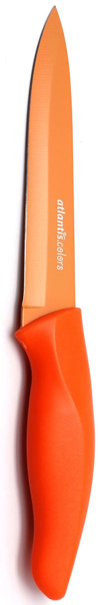 Нож кухонный Atlantis, цвет: оранжевый, длина лезвия 13 см. 5U-O5U-OКухонный нож Atlantis всегда должен быть под рукой. Он подойдет для нарезки любых овощей, мяса, рыбы и других продуктов.Нож обработан специальным покрытием Microban. Покрытие Microban - самое надежное в мире средство для защиты от бактерий, грибков, плесени и запахов. Действует постоянно, даже после мытья, обеспечивая большую защиту ножа. Антибактериальная защита работает на протяжении всего срока службы ножа.Особенности ножа Atlantis: японская высокоуглеродистая нержавеющая стальпрочный и острый клинокпластиковая ручка с антибактериальной защитой Microbanэргономический дизайн ручкибезопасное и прочное покрытие лезвия, не дающее пище прилипать к ножукрасивое сочетание цветов ручки и лезвия.Характеристики: Длина лезвия:13 см. Длина общая:23 см. Производитель: Германия. Артикул: 5U-O. Германская компанияAtlantisбыла основана в 2002 году. На сегодняшний деньтовар этой компании широко представлен в России. Особый сплав стали с цинком обеспечивает ножам компании Atlantis особую прочность, благодаря чему ее продукция очень прочная и долговечная! Кроме того, удобный и разнообразный дизайн ножей позволяет выбрать тот вариант, который идеально подойдет именно Вам.Ножи от Atlantis - это ножи нового поколения, а именно линия 2000 - Помощник повара (Chiefs Essential)!Идеально сбалансированные ножи одинаково подходят как для повара-профессионала, так и для любителя, эти ножи призваны соответствовать пожеланиям обоих.