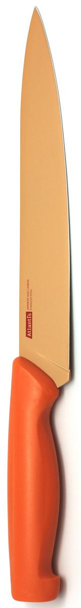 Нож для нарезки Atlantis 20см 8S-O8S-OНож Atlantis высшего качества предназначен для профессионального и домашнего использования, для нарезки продуктов.Очень удобная и эргономичная ручка не позволит выскользнуть ножу из вашей руки.Нож обработан специальным покрытием Microban. Покрытие Microban - самое надежное в мире средство для защиты от бактерий, грибков, плесени и запахов. Действует постоянно, даже после мытья, обеспечивая большую защиту ножа. Антибактериальная защита работает на протяжении всего срока службы ножа.Особенности ножа Atlantis: японская высокоуглеродистая нержавеющая стальпрочный и острый клинокбезопасное и прочное покрытие лезвия, не дающее пище прилипать к ножукрасивое сочетание цветов ручки и лезвия. Характеристики: Длина лезвия: 20 см. Длина общая: 32 см. Производитель: Китай. Артикул: 8S-O. Германская компанияAtlantisбыла основана в 2002 году. На сегодняшний деньтовар этой компании широко представлен в России. Особый сплав стали с цинком обеспечивает ножам компании Atlantis особую прочность, благодаря чему ее продукция очень прочная и долговечная! Кроме того, удобный и разнообразный дизайн ножей позволяет выбрать тот вариант, который идеально подойдет именно Вам.Ножи от Atlantis - это ножи нового поколения, а именно линия 2000 - Помощник повара (Chiefs Essential)!Идеально сбалансированные ножи одинаково подходят как для повара-профессионала, так и для любителя, эти ножи призваны соответствовать пожеланиям обоих.