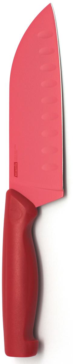 Нож кухонный Atlantis, цвет: красный, длина лезвия 13 см. 5T-R5T-RКухонный нож Atlantis всегда должен быть под рукой. Он подойдет для нарезки любых овощей, мяса, рыбы и других продуктов.Нож обработан специальным покрытием Microban. Покрытие Microban - самое надежное в мире средство для защиты от бактерий, грибков, плесени и запахов. Действует постоянно, даже после мытья, обеспечивая большую защиту ножа. Антибактериальная защита работает на протяжении всего срока службы ножа.Особенности ножа Atlantis: японская высокоуглеродистая нержавеющая стальпрочный и острый клинокбезопасное и прочное покрытие лезвия, не дающее пище прилипать к ножукрасивое сочетание цветов ручки и лезвия. Характеристики:Материал: нержавеющая сталь, пластик. Длина: 13 см. Цвет: красный. Производитель: Китай. Артикул: 5T-R.