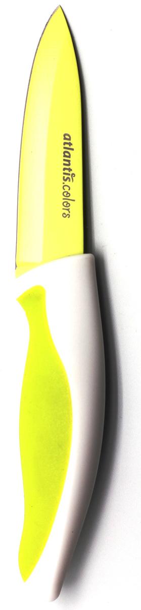 Нож для овощей Atlantis, цвет: зеленый, длина лезвия 9 см. L-3P-GL-3P-GНож для овощей Atlantis всегда должен быть под рукой. Он превосходно подойдет для чистки и нарезки овощей. Особенности ножа Atlantis: японская высокоуглеродистая нержавеющая стальпрочный и острый клинокэргономический дизайн ручкибезопасное и прочное покрытие лезвия, не дающее пище прилипать к ножукрасивое сочетание цветов ручки и лезвия. Характеристики: Материал: нержавеющая сталь, пластик. Длина лезвия: 9 см. Длина общая: 20 см. Производитель: Китай. Артикул: L-3P-G.